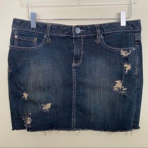 Converse | Upcycled Distressed Denim Skirt - 10